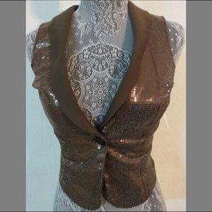 New Sz S Brown Sequin Tuxedo 38L Juniors Suit Vest